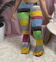 Trendy Printed Skinny Long Flared Pants FSL-107