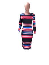 Colorful Striped Long Sleeve Slim Midi Dress DMF-8091
