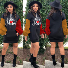 Contrast Color Letters Casual Hoodies Dress LUO-3106