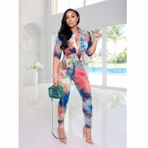 Tie Dye Print Blouse Pants Two Piece Suits WZ-8323