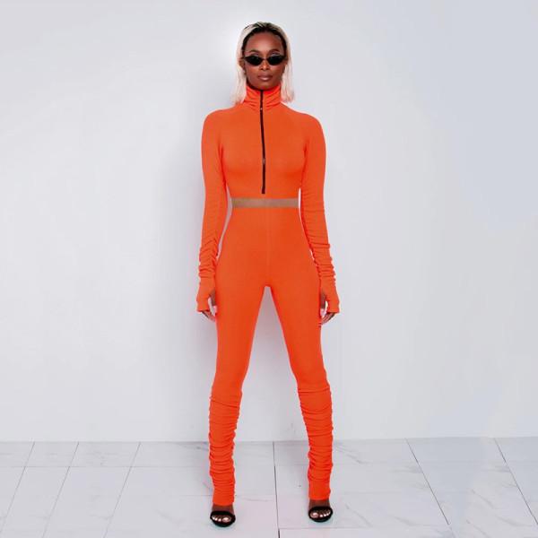 Solid Long Sleeve Zipper Slim 2 Piece Pants Set MDF-5165