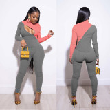 Contrast Color Rib  Zipper Tight Two Piece Pants Set IV-8132