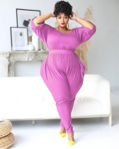 Plus Size 5XL Solid Half Sleeve Jumpsuits BMF-024