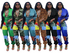 Plus Size Casual Printed Long Sleeve Zipper Jumpsuits DMF-8104