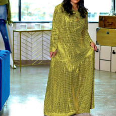 Shiny Long Sleeves Sashes Maxi Dress DMF-8111