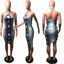 Sexy Snake Skin Print Halter Irregular Club Dress DMF-8038