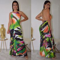Sexy Printed Halter Bacless Maxi Dress DMF-8074