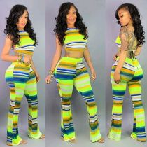 Sexy Striped Cami Top And Pants Two Piece Sets DMF-8063
