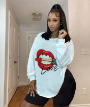 Plus Size 4XL Sexy Casual Printed Long Sleeve T-shirt DMF-8143
