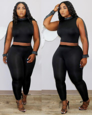 Fashion Sexy Solid Color Crop Top And Pants Two Piece Set DMF-8142