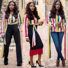 Colorful Stripe V Neck Long Sleeve Pullover Tops DMF-8022