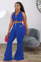 Plus Size Sexy Solid Color Hanging Neck Crop Top Wide Leg Pants Two Piece Set DMF-8141