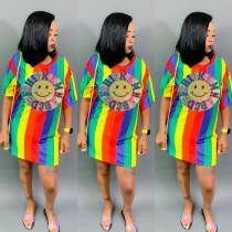 Rainbow Striped Sequined Short Sleeve Mini Dress DMF-8084