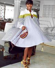 Plus Size Casual Loise Striped Irregular Shirt Dress DMF-8041