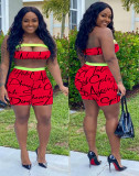 Sexy Letter Print Tube Top Shorts Two Piece Set DMF-8121