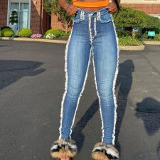 Plus Size Denim Long Skinny Jeans Pants OD-8383