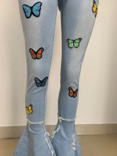 Classic Butterfly Print Tassel Ripped Hole Slim Jeans LSD-8759