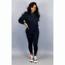 Fashion Simple Sports Solid Color Long Sleeve Top And Pants Two Piece Set LSD-8631-1
