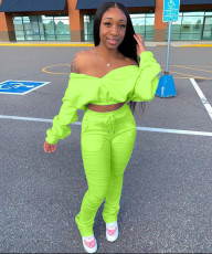 Plus Size Fashion Casual Solid Color Long Sleeve Crop Top And Pants Two Piece Set LSD-8768
