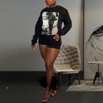 Casual Printed Long Sleeve O Neck Sweatshirt Tops LQ-5872