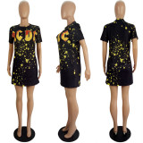 Plus Size 4XL Casual Fashion Printed Short Sleeve T-shirt Dress LSL-6382