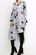 Newspaper Print Irregular Casual Shirt Dress MEM-8297