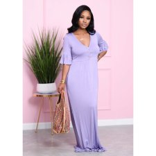 Plus Size Solid V Neck Petal Sleeve Maxi Dress HGL-1531