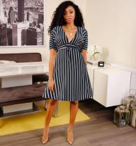 Striped High Waist V Neck Sashes Midi Dress MGF-1009