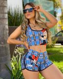 Plaid Mickey Mouse Print Sleeveless 2 Piece Shorts Set LSL-6354