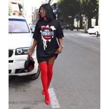 Plus Size Lips Print O Neck Short Sleeve T Shirt Dress WAF-7055
