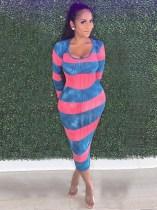 Sexy Ribbed Striped Long Sleeve Slim Midi Dress MGF-1026
