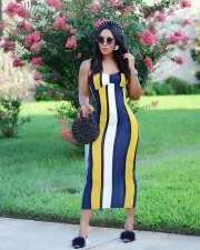 Colorful  Striped Spaghetti Strap Long Dress MGF-1014