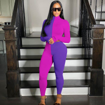 Color Block Splice Casual Sports Long Sleeve Crop Tops And Pants Two Piece Sets YIM-142