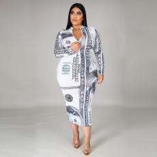 Plus Size Dollar Print Long Sleeve Zipper Midi Dress ONY-5058