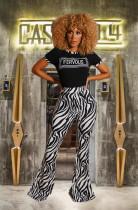 Casual Stripe Print T Shirt Flared Pants 2 Piece Sets MGF-1004