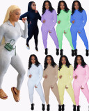 Plus Size Simple Ribbed Embroidery Letter Print Sporty Long Sleeve Fitness Jumpsuit LUO-3062-2