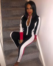 Splice Zipper Long Sleeve Top And Pants Sports Two Piece Set OLF-115