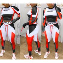Plus Size Contrast Color Fitness 2 Piece Pants Set YFS-3574