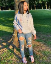Casual Letter Print Pullover Hoodies Tops SMF-8038