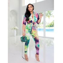 Tie Dye Print Long Sleeves Blouses And Pants Two Piece Set SFY-168