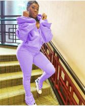 Fashion Sexy Backless Puff Sleeve Hooded Zippers Sweatshirts And Pleated Split Pants Set DAI-8288