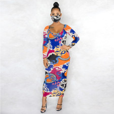 Sexy Elegant Print Long Sleeve Slim Fit Maxi Dress Without Mask ABF-6608