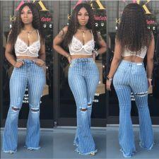 Plus Size Denim High Waist Striped Hole Flared Jeans HSF-2320
