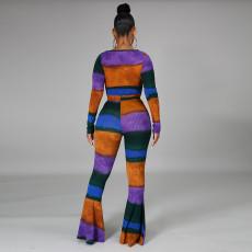Sexy Printed Ribbed Flared Pants 2 Piece Sets CYA-8665
