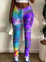Tie Dye Print Pocket Split Casual Long Pants CYAO-8593