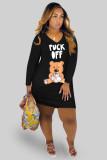 Cartoon Print V Neck Long Sleeve T Shirt Dress DMF-8149