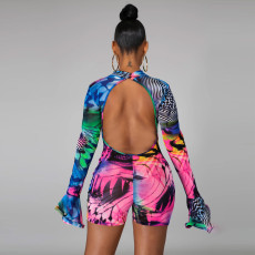 Sexy Printed Flare Sleeve Backless Rompers CYA-8668