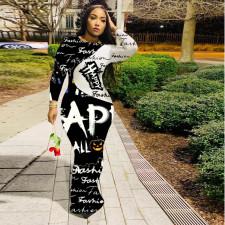 Fashion Trend Letter Print Long Sleeve Slim Fit Long Dress ABF-6610