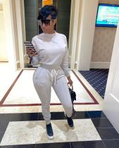 Plus Size Fashion Solid Color Sports Long Sleeve Top And Pants Two Piece Set WAF-7078