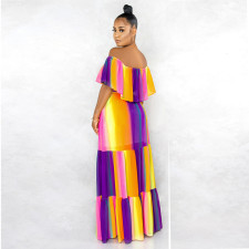 Colorful Sweet Off Shoulder Print Maxi Dress ABF-6611